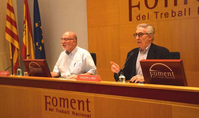 Salvador Guillermo i Joaquim Llansó presenten hores el Catàleg de les 100 infraestructures bàsiques per a Catalunya 2020   Cedida